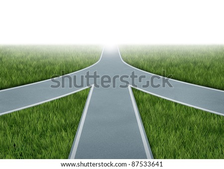 Mergers and partnerships converging on a road with the same strategy and vision for the success of a company by working together as a conglomerate represented by three roads merging together into one.