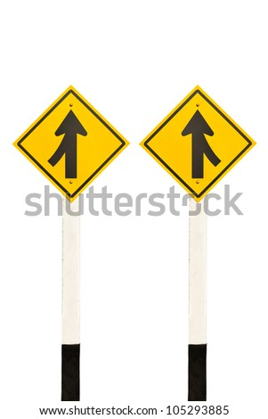 Merging lane from left and right road signpost isolated on white background