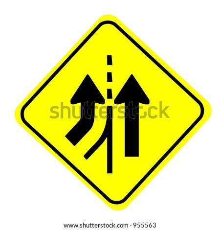 Merging Traffic from left sign isolated on a white background