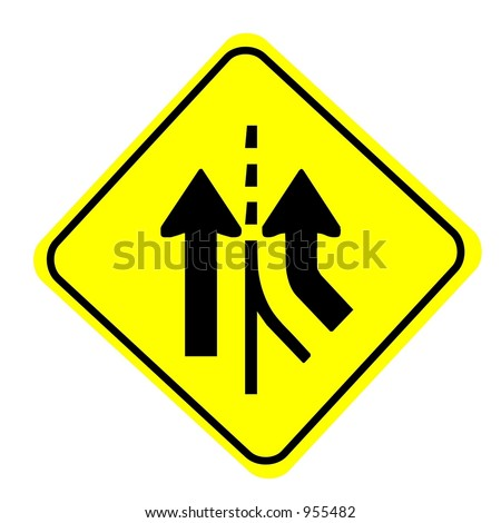 Merging traffic sign isolated on a white background