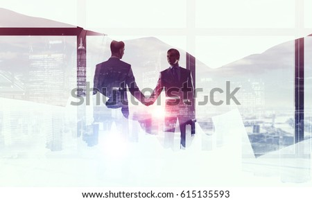 Merging with big business . Mixed media Stock foto ©
