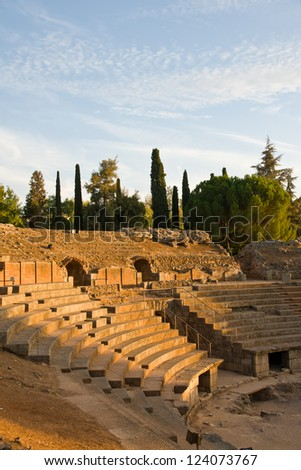 Merida, Badajoz, Extremadura, Spain. Roman Theater and anphiteater