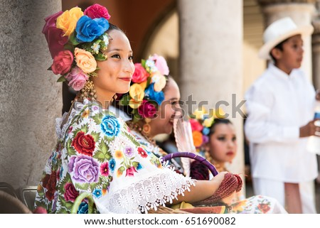 MERIDA,MEXICO-APRIL 25,2017: A picture of a young mayan dancer, member of the folkloric ballet of the state of Yucatán. Wearing the typical Yucatán costume