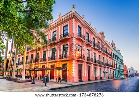 Merida, Mexico. Hispanic colonial architecture, Yucatan Peninsula in Central America.