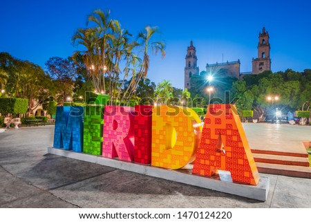Merida, Mexico. Plaza Grande and San Ildefonso cathedral in colonial city of Yucatan Peninsula.