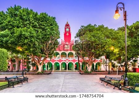 Merida, Mexico. Plaza Grande, downtown of spanish colonial city in Yucatan.