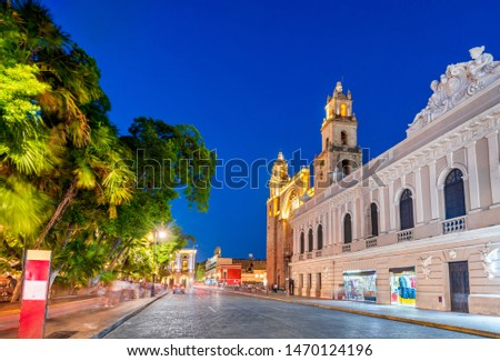 Merida, Mexico. San Idefonso cathedral in colonial city of Yucatan Peninsula.