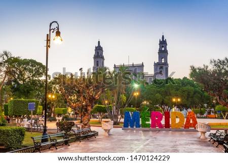 Merida, Mexico. San Ildefonso cathedral in colonial city of Yucatan Peninsula.