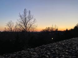 Meridian Hill Park sunset at winter night at Washington DC