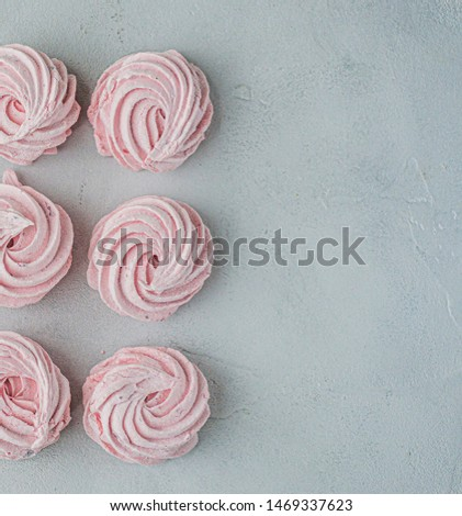 Meringue zephyr marshmallows lined up in a square on a light background. Mortgage the apartment. The view from the top. Pink sweet homemade marshmallow or marshmallow. Colorful meringues on a white #1469337623