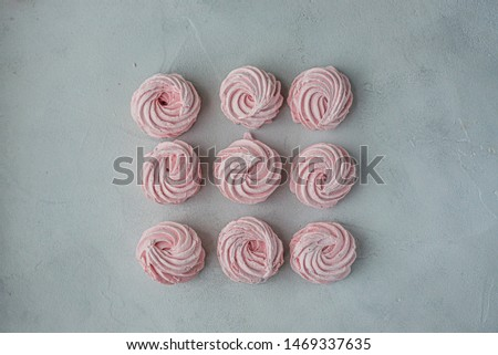 Meringue zephyr marshmallows lined up in a square on a light background. Mortgage the apartment. The view from the top. Pink sweet homemade marshmallow or marshmallow. Colorful meringues on a white #1469337635