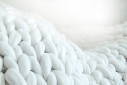 Merino wool knit handmade large blanket, super chunky yarn, trendy concept