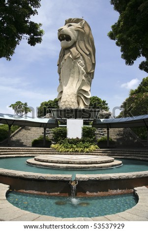 merlion statue sybol of singapore city state on sentosa island