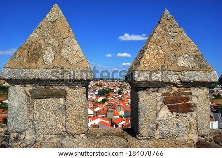 Merlons and battlements in Sabugal castle, Portugal