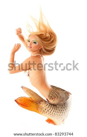 mermaid beautiful magic mythology being original photo compilation isolated on white background