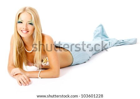 mermaid beautiful magic mythology young woman isolated on white background