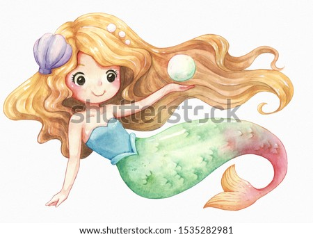 Mermaid character cartoon watercolor, cute girl, clipart illustration, isolated on white texture watercolor paper.