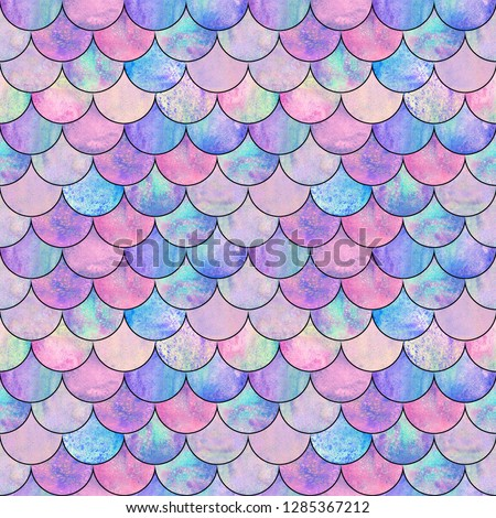 Mermaid fish scale wave japanese magic seamless pattern. Watercolor hand drawn bright colorful background with black contour. Watercolour scales shaped texture. Print for textile, wallpaper, wrapping.