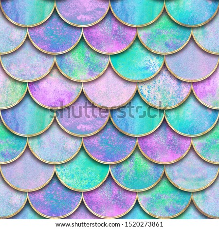 Mermaid fish scale wave japanese seamless pattern. Watercolor hand drawn teal purple golden background. Watercolour scales shaped texture. Paper cut style, 3d effect. Print for textile, wallpaper