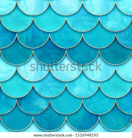 Mermaid fish scale wave japanese seamless pattern. Watercolor hand drawn turquoise blue teal background. Watercolour scales shaped texture. Paper cut style, 3d effect. Print for textile, wallpaper.