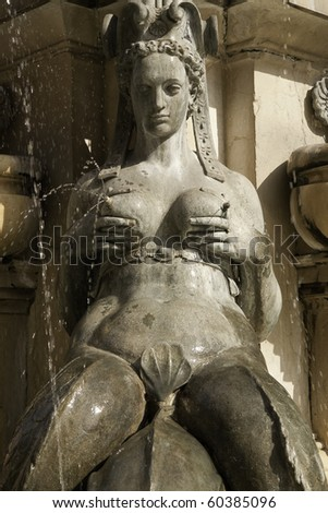 Mermaid from the Fountain of neptune in Bologna, Italy