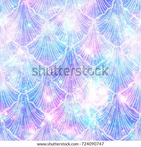 Mermaid Galaxy Print  Seamless Pattern in Repeat Seamless Pattern in Repeat