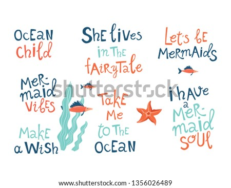 Mermaid party hand drawn blue lettering set. Stylized slang phrases, slogans collection. Positive quote isolated cliparts. Flat design typography. Birthday poster, banner, t-shirt carton element