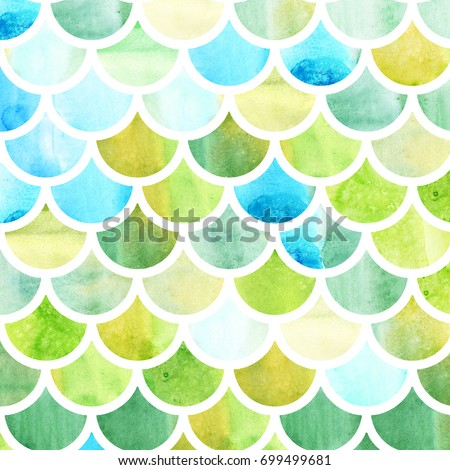 Mermaid scales. Watercolor fish scales. Bright summer pattern with reptilian scales. Fantasy illustration.