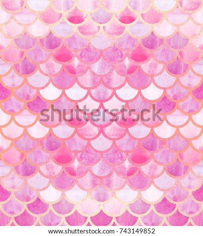 Mermaid scales. Watercolor fish scales. Bright summer pattern with reptilian scales. Rose Gold background.