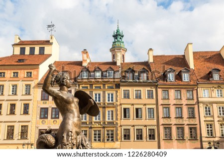 Mermaid 'Syrena' statue in the historical center of Warsaw, Poland in a summer day Zdjęcia stock ©