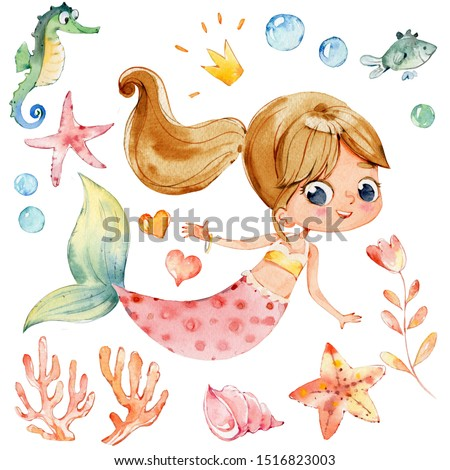 Mermaid Watercolor Character Sea Horse Ocean Kit. Young Underwater Woman Nymph Grace Mythology Princess. Mythical Aquatic Isolated Baby Siren Painting. Coral Element Flat Cartoon Illustration Сток-фото ©