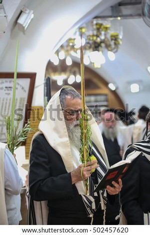 meron,Israel - October 19,2016- Orthodox Jews performing the commandment of taking of the Four Kinds on Sukkot holiday ( etrog, lulav, myrtle and willow ).  #502457620
