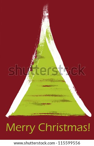 Merry Christmas - abstract green painted christmas tree on red background
