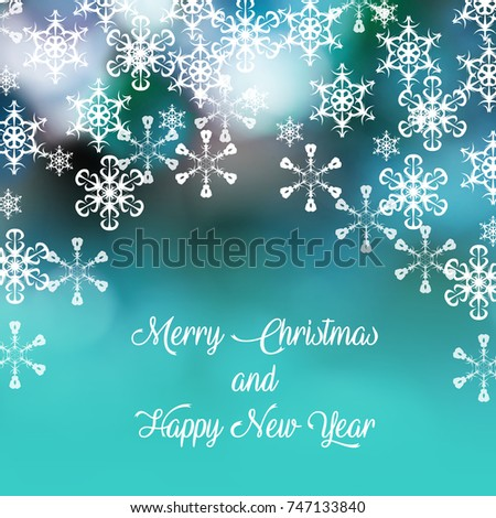 merry christmas and a happy new year card background and soft snowflakes