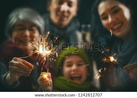 Merry Christmas and Happy Holiday! Family having fun on New Year. #1242812707