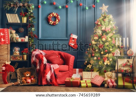 Merry Christmas and Happy Holidays! A beautiful living room decorated for Christmas. #745659289
