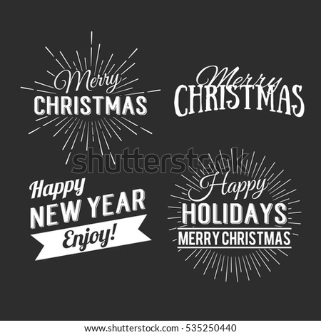 Merry Christmas and Happy New Year Calligraphic Design Label on grunge background. Holidays lettering for invitation, greeting card, prints and posters. Typographic design.