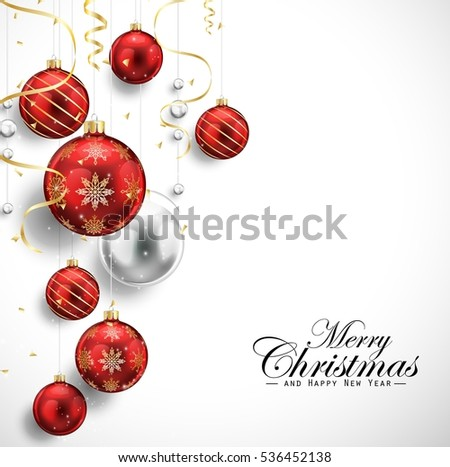 Merry Christmas and Happy New Year card with red balls and gold streamers #536452138