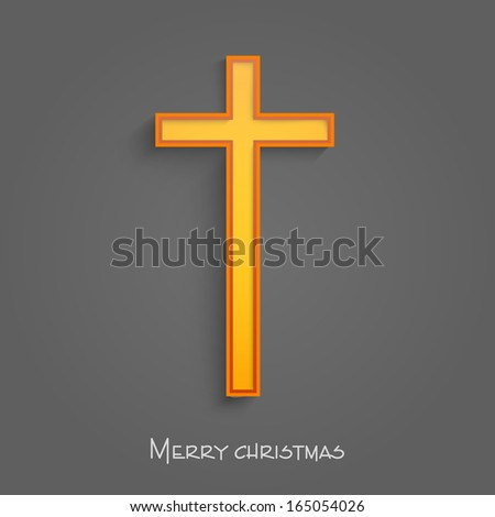 merry christmas and happy new year 2014 celebration concept with christian cross on grey background