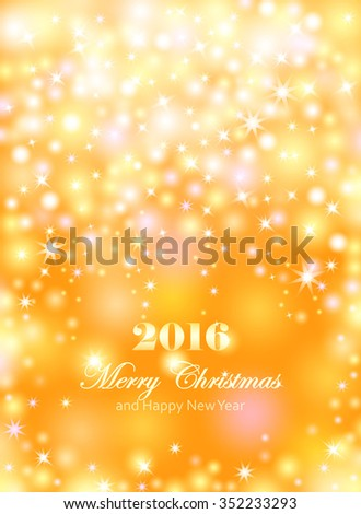 Merry Christmas and Happy New Year celebrations flyer, banner, poster or invitation with shiny text. Merry Christmas message with lights, shining stars, sparkling inscription on gold