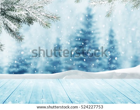 Merry christmas and happy new year greeting background with table .Winter landscape with snow and christmas trees #524227753