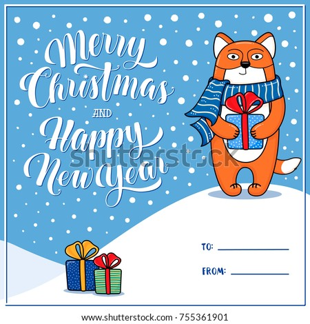 merry christmas and happy new year greeting card with fox gifts snow lettering and place for