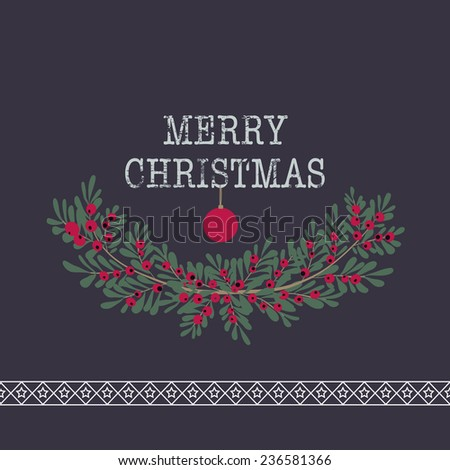 Merry christmas and happy new year greeting card wreath purple background