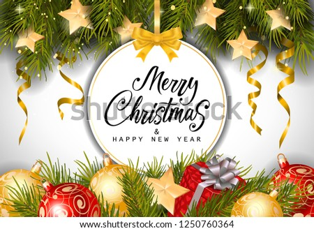 Merry Christmas and happy New Year lettering on bauble-shaped tag with fir sprigs, baubles and present box. Calligraphic inscription can be used for greeting cards, festive design, posters, banners. #1250760364