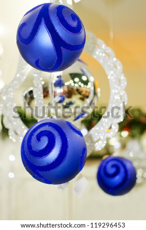 Merry Christmas and Happy new year, New Year's blue ball on a white background abstract background lights