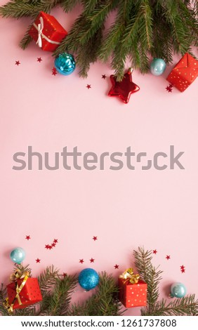 Merry Christmas and Happy New Year. Pink background #1261737808