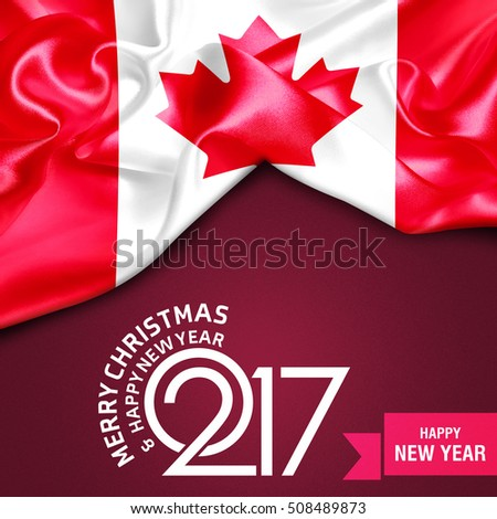 merry christmas and happy new year 2017 ribbon banner background canada flag 508489873