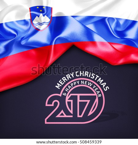 Merry Christmas and Happy new year 2017 Slovenia creative fabric background - Shutterstock ID 508459339
