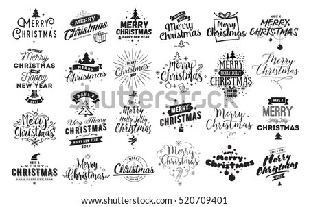 Merry Christmas and Happy New Year 2017 typographic emblems set. logo, text design. Usable for banners, greeting cards, gifts etc. #520709401