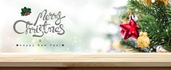 Merry Christmas and Happy New Year wood table top banner background